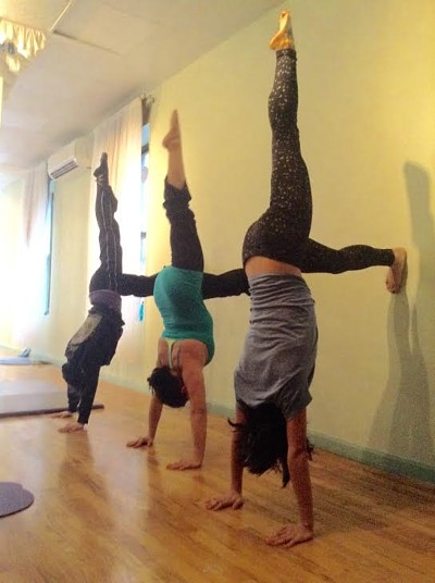 Yoga Pole also helps you perfect your handstand.