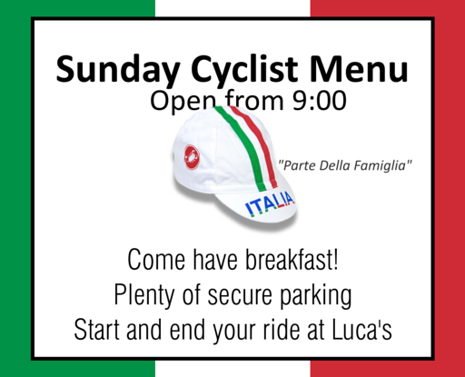 Lucas Sunday Cyclist Menu