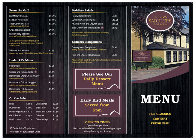 The Saddlers Lympstone Menu