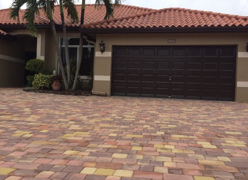 Beautifully finished brick and stone driveway.