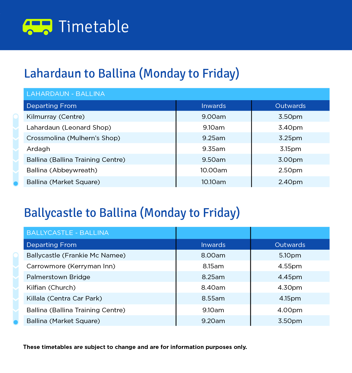 Click for timetable