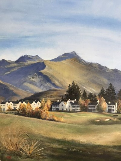 Original acrylic painting Millbrook Golf Resort with the Remarkables in the background