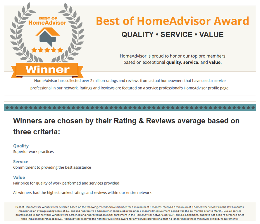 Home Advisor Appliance repair service winner image