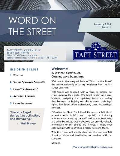 Word on the Street | Newsletter | Taft Street Law Firm