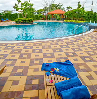 Outdoor swimming pool in Bagan