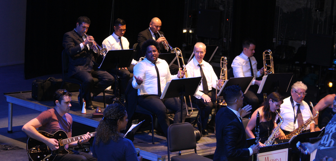 musicians, white, shirt, black, tie, trombone, guitar, saxophone, suit, chair, women, man, trumpet, scenario, theater, peon, contreras, big, band, merida, mexico