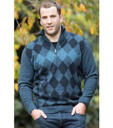 Native World Mens Diamond half Zip Jumper