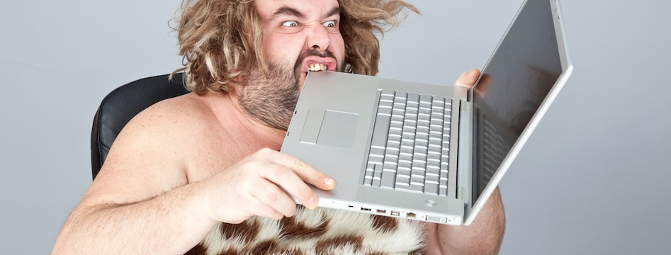 caveman living in modern times