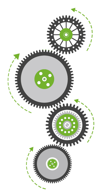 An image of cogs to show our process of design