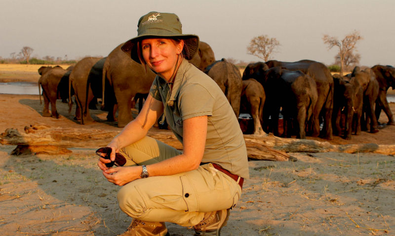 Dr Tammie Matson with elephants