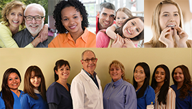 3 images showing people of all ages smiling and the Roseroot Dental Team