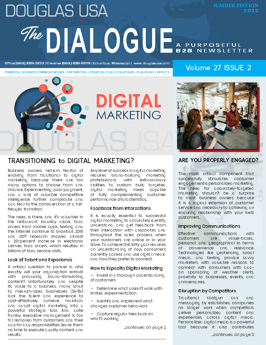 Download the Dialogue newsletter from the DOUGLAS USA  Agency