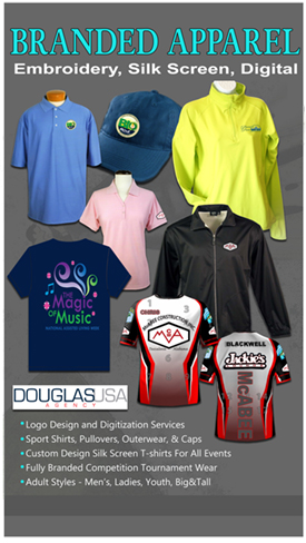 embroidered silk screened and digitized apparel branded by Douglas USA