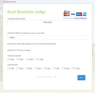 booking form, website booking form, accommodation to let booking form, accommodation booking form