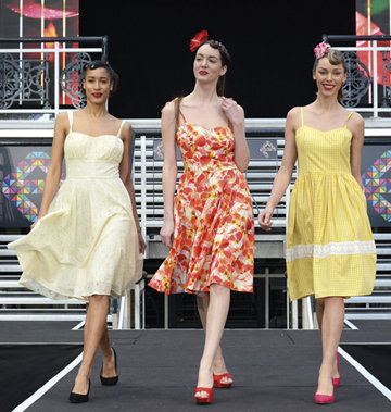 Ladies fresh summer fashion dresses being  modelled on the catwalk