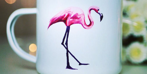 Flamingo decorated white mug, designed by 'Kitsch Republic'