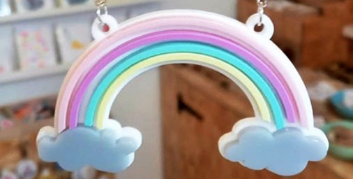 Clouds and coloured rainbow jewellery by Little Pig Jewellery Design