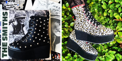 Two pairs of boots. One Black leather with studs  and the other leopard patterned platform boots