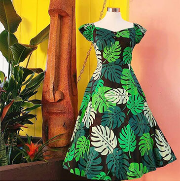 Palm leaf pattern designed dress