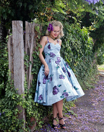 Purple dress with  dark purple berries