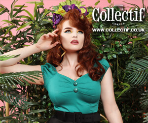Collectif Clothing Advert Showing vintage style clothing range