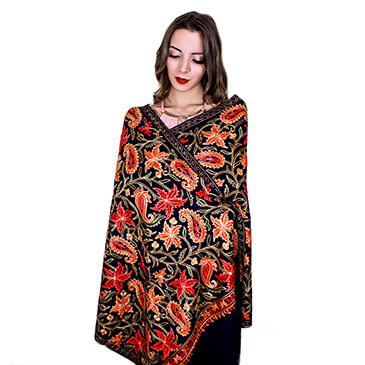 Star-gazer Lily Shawl - 100% Cashmere Wool with cotton Embroidery