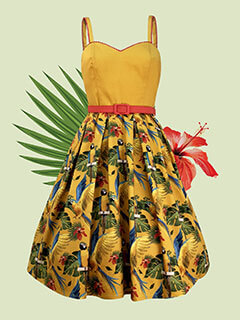 Parrot print flirty 50's style dress in mustard yellow with red belt detail