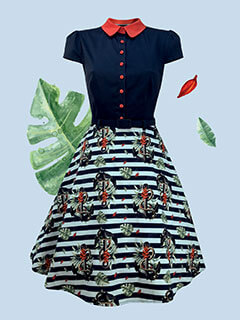 Red, white & navy nautical & leaf print 50's style dress with red peter pan collar & buttons