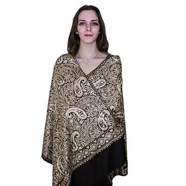 Aurelia Shawl - 100% Cashmere Wool Shawl, silk Embroidery with embellished with Rhinestones