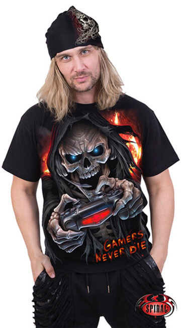 Male model wearing 'Gamer's Never Die' t-shirt and black bandana