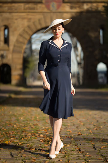 Lisa-Mae Dress - the Lisa-Mae dress is brand new for this season and has every element of the perfect 1940's dress.