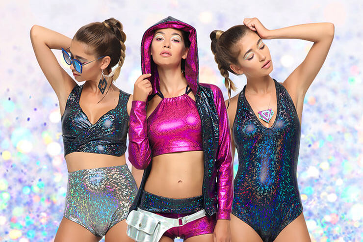 Sea Dragon Studios - Three young women wearing Holographic Festival Clothing