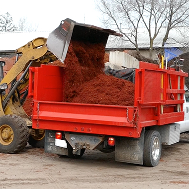 Dump truck being loaded with red mulch