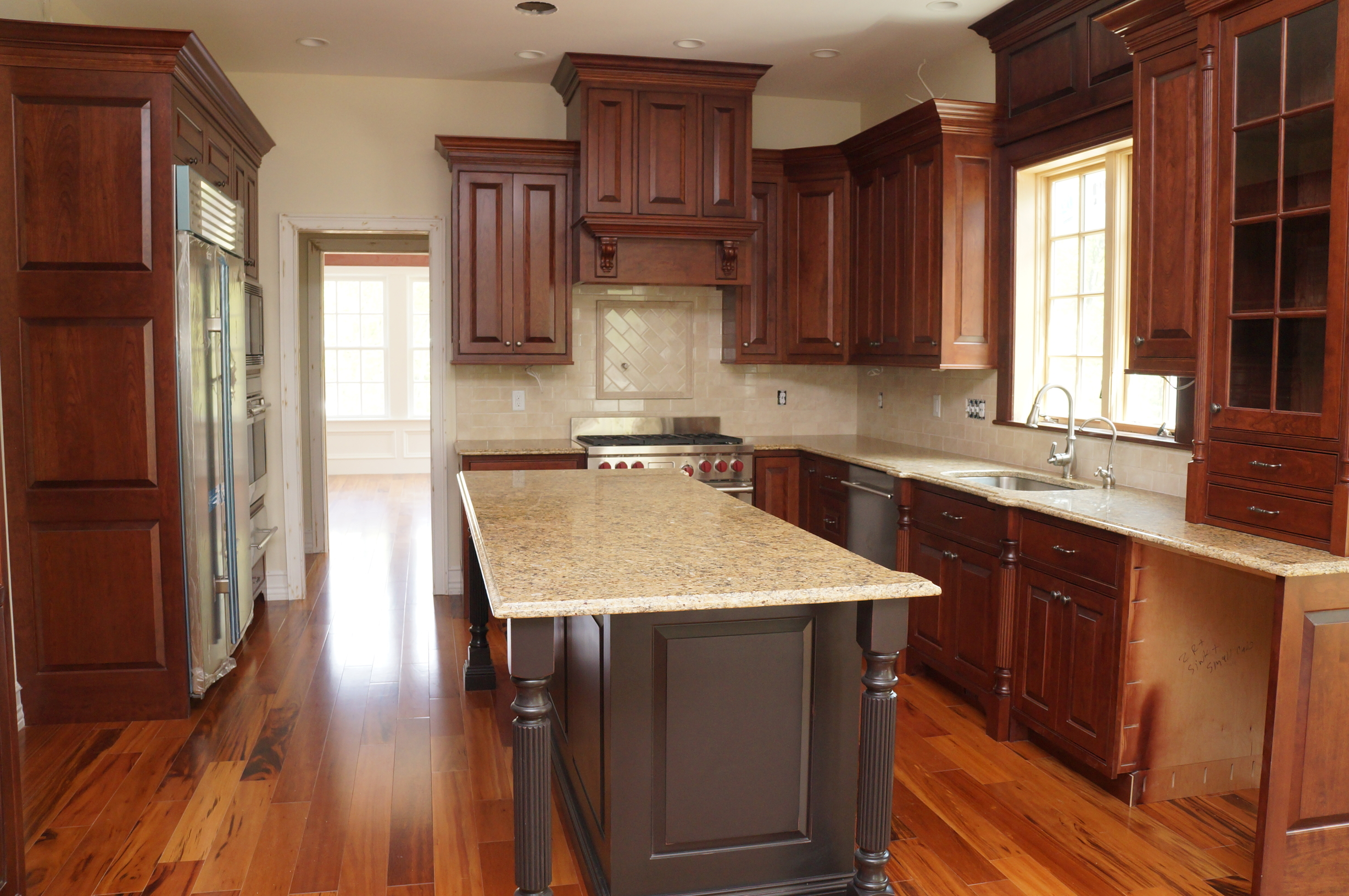 Cherry Kitchen layout and design Bolton Massachusetts