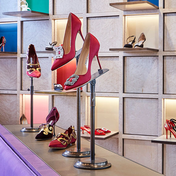 New Manolo Blahnik shoes displays
