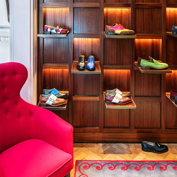 Manolo Blahnik wooden shoe display wall