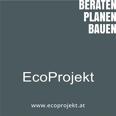 Quadrat, Text: EcoProjekt - Beraten Planen Bauen, www.ecoprojekt.at