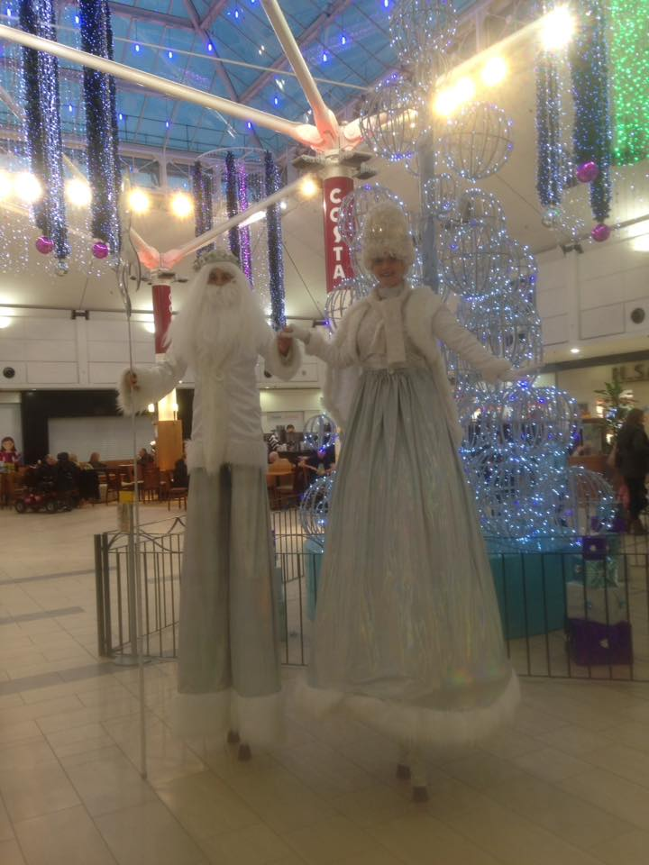 Christmas Snow King and Queen Stilt Walkers