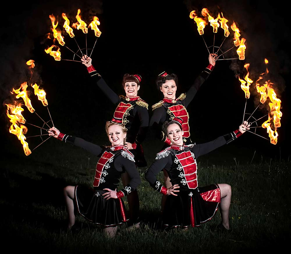 Christmas Themed Fire Performers