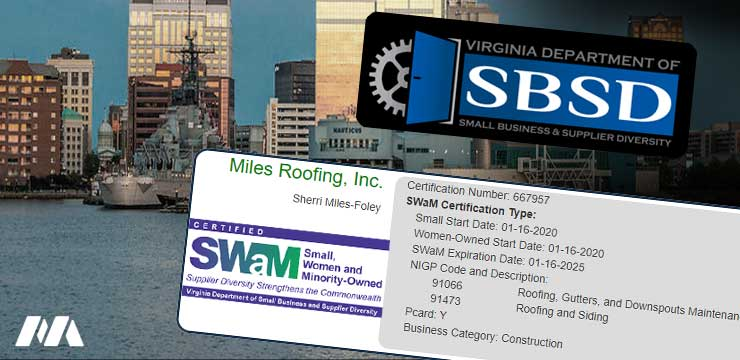 Miles Roofing Inc. SWaM Certification Infobox