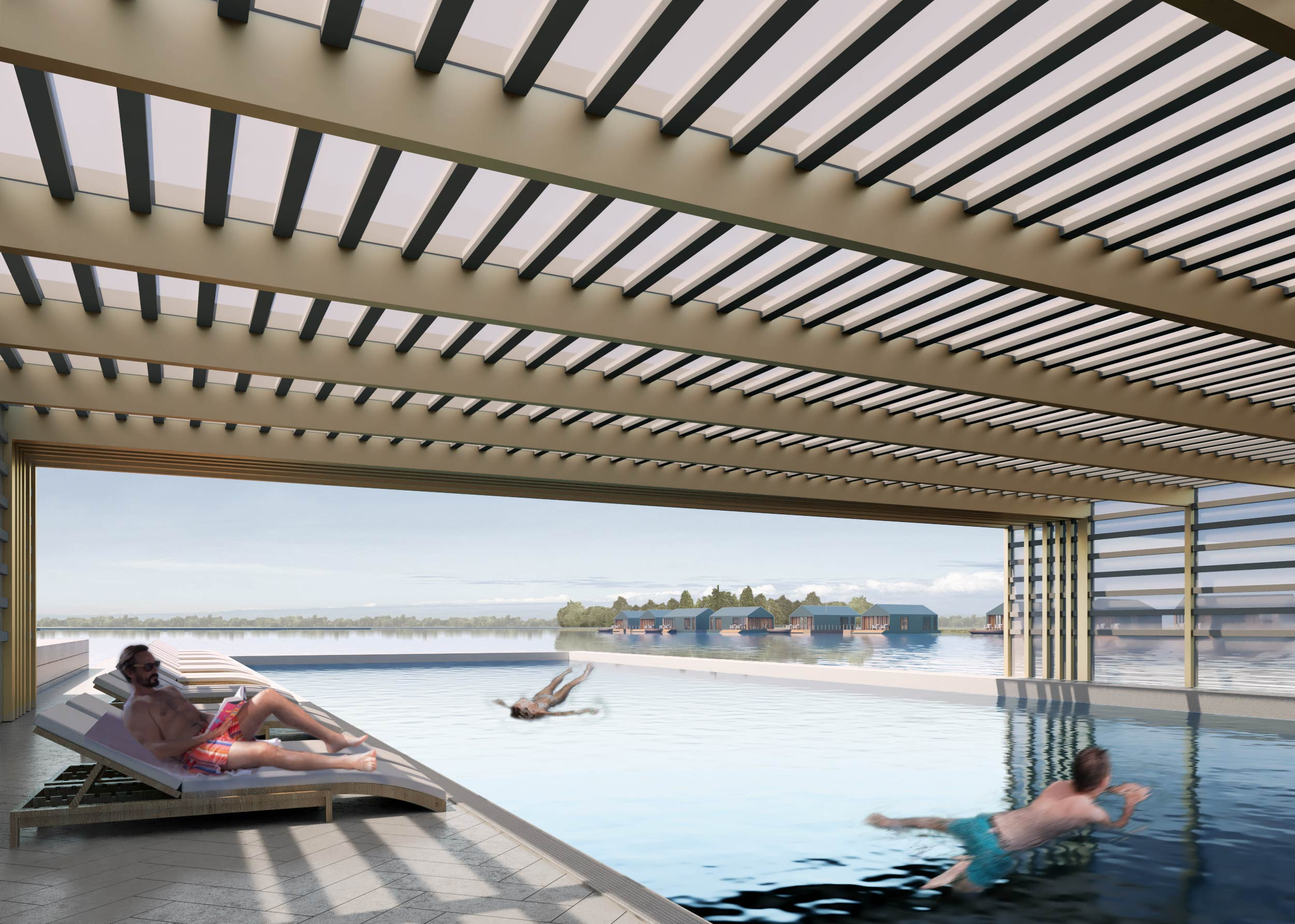 Internal view of Ashwicken Lake folding pool roof