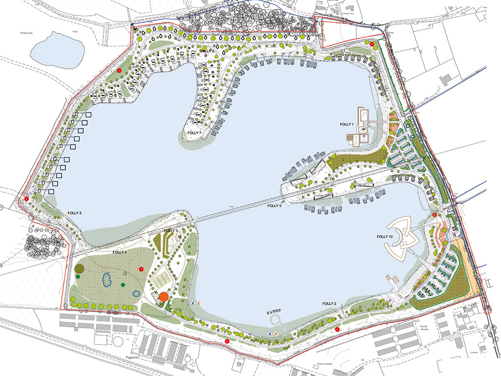 CAD Masterplan drawing of Ashwicken Lake