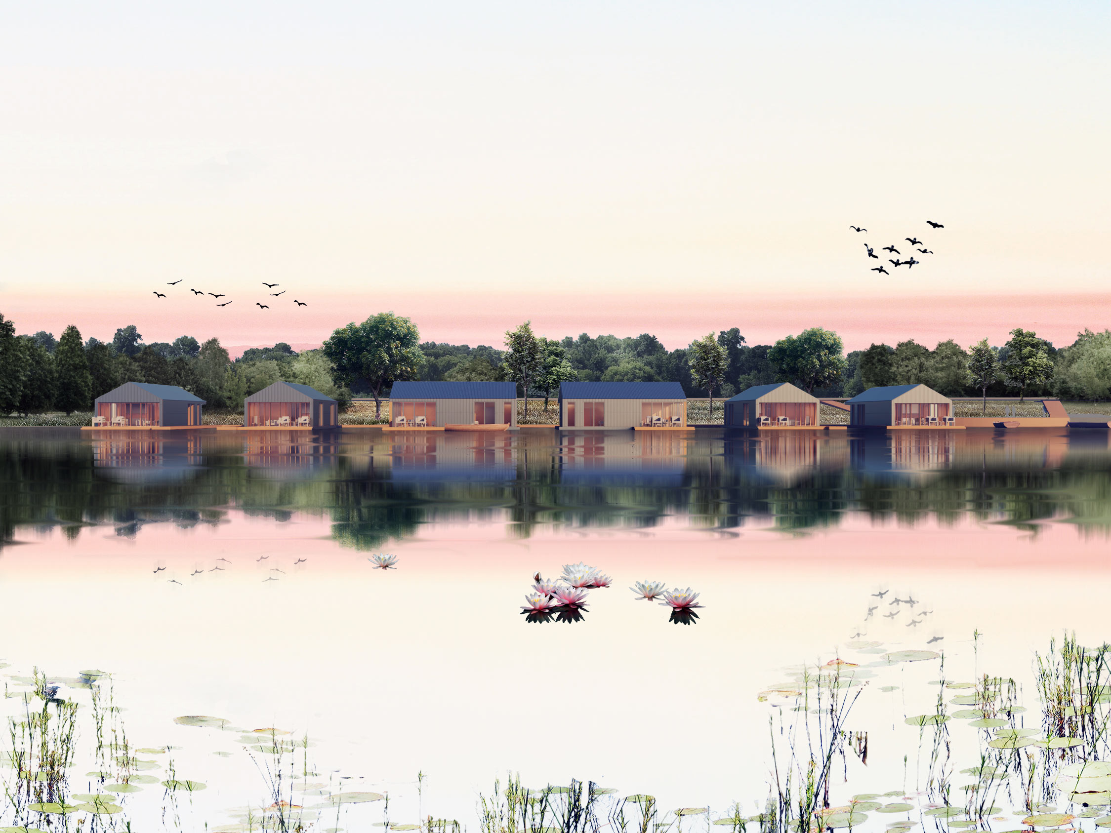 Waterside view of Ashwicken Lake Floating Lodges