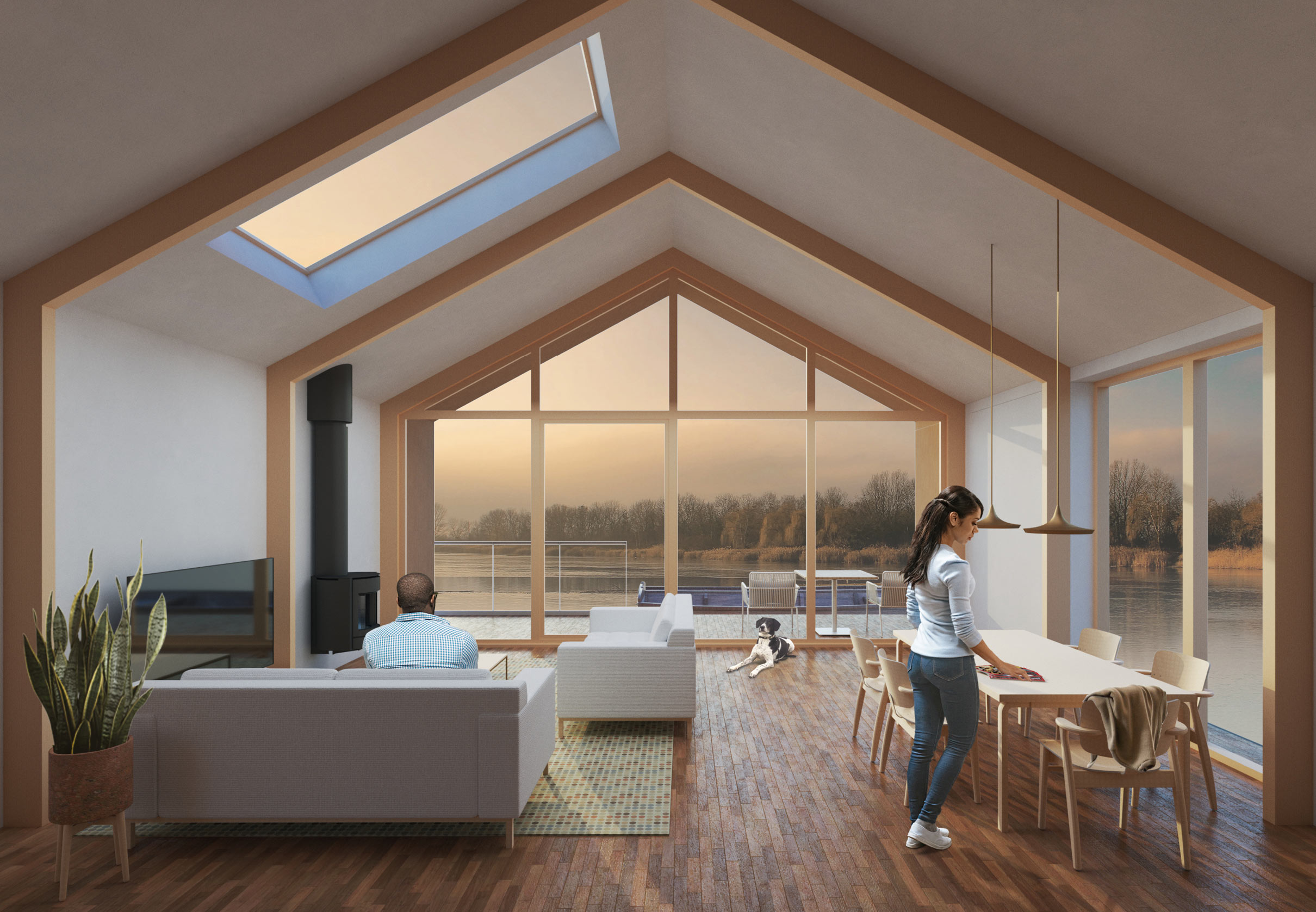 Internal view of Ashwicken Lakes Floating Lodges